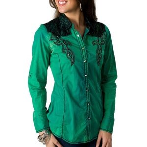 Roar Western Bead & Sequin Button Down Top SMALL